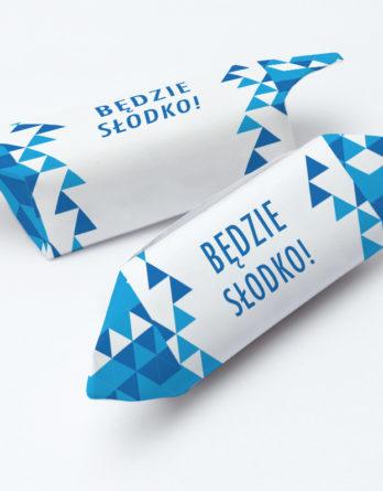 krówki reklamowe niebieskie trójkąty