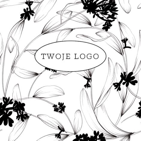 Krówki reklamowe twój tekst czarno białe kwiaty