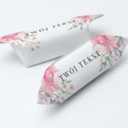 Krówki reklamowe twój tekst pudrowe kwiaty