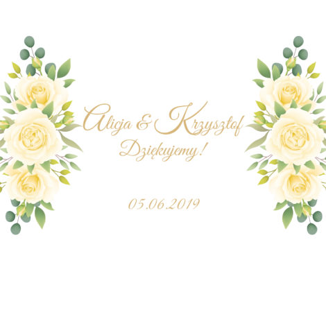 Krówki na ślub białe kwiaty żółte