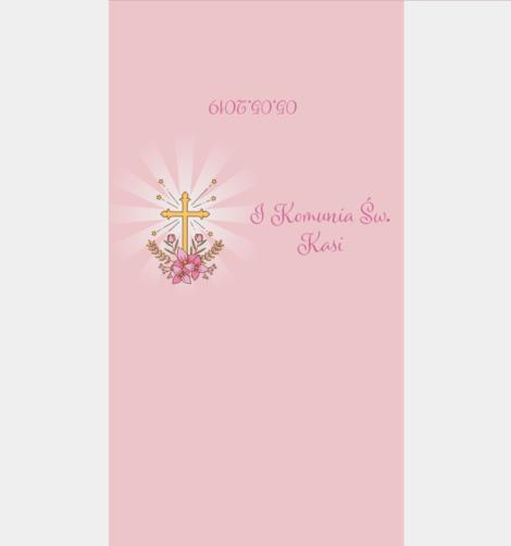 Krówki komunijne Pierwsza Komunia Święta różowe