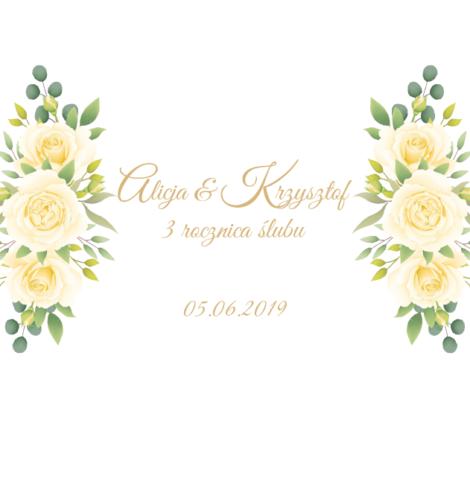 Krówki na ślub żółte kwiaty rocznica