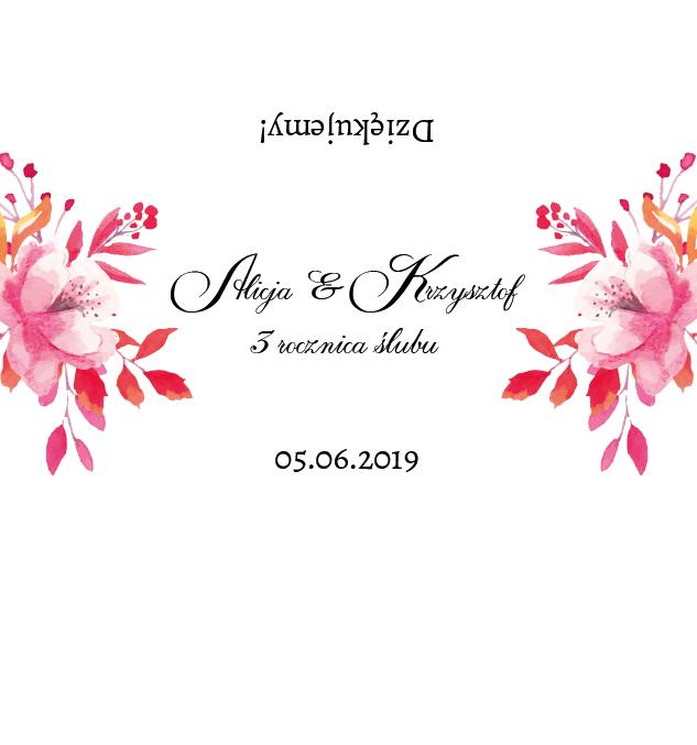 Krówki na ślub rocznica pastelowe kwiaty