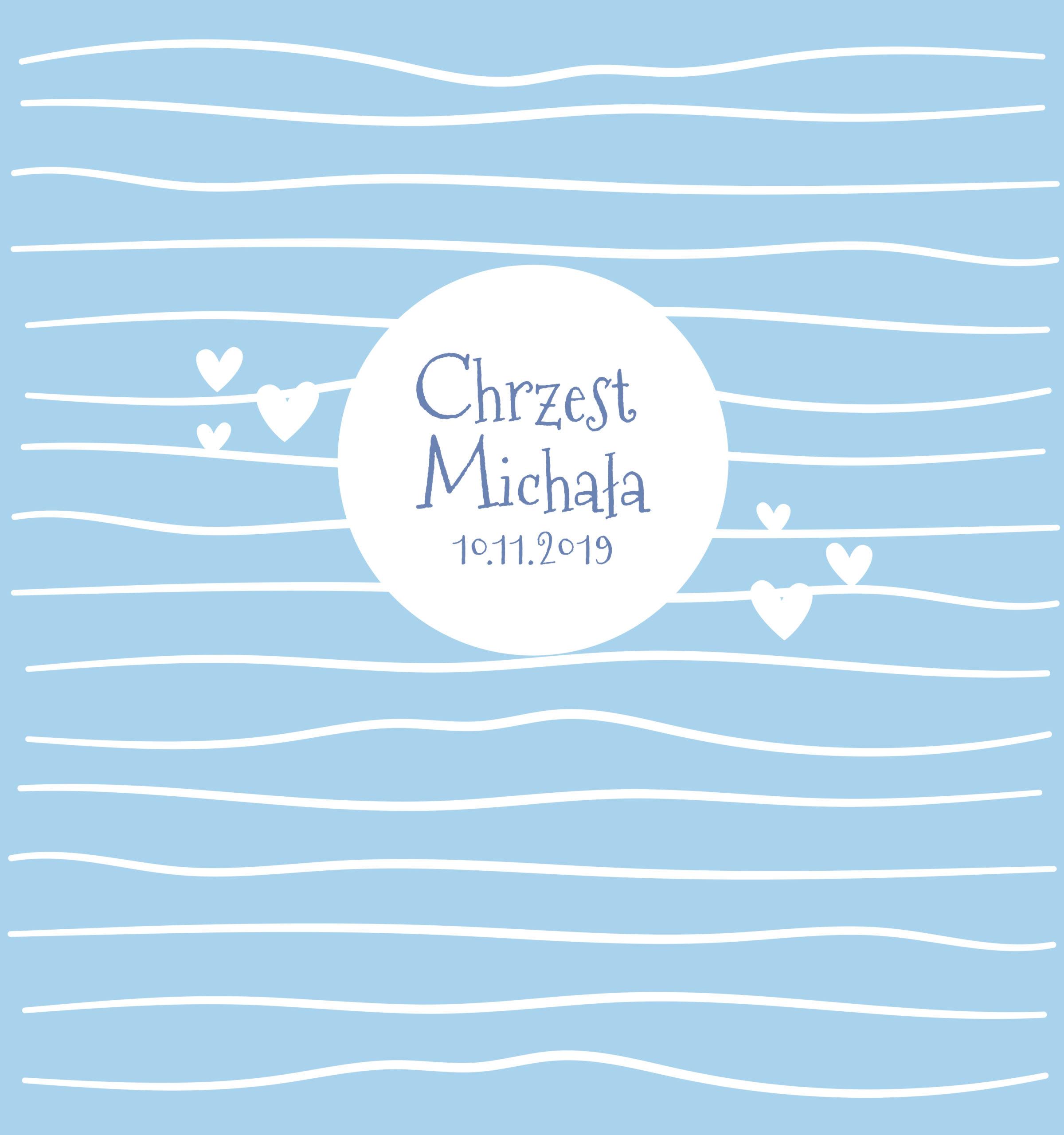 Krówki na chrzest niebieskie paski serca