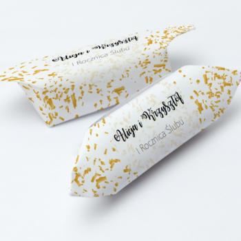 krówki na ślub złote konfetti