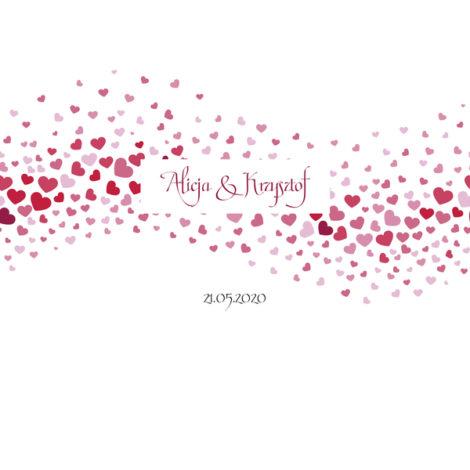 Krówki na ślub i wesele serca białe czerwone