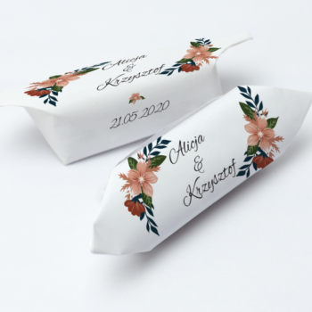 Krówki na ślub i wesele kwiaty liście zielone białe