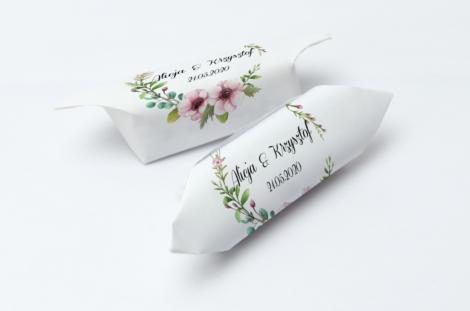 Krówki na ślub i wesele kwiaty pudrowe