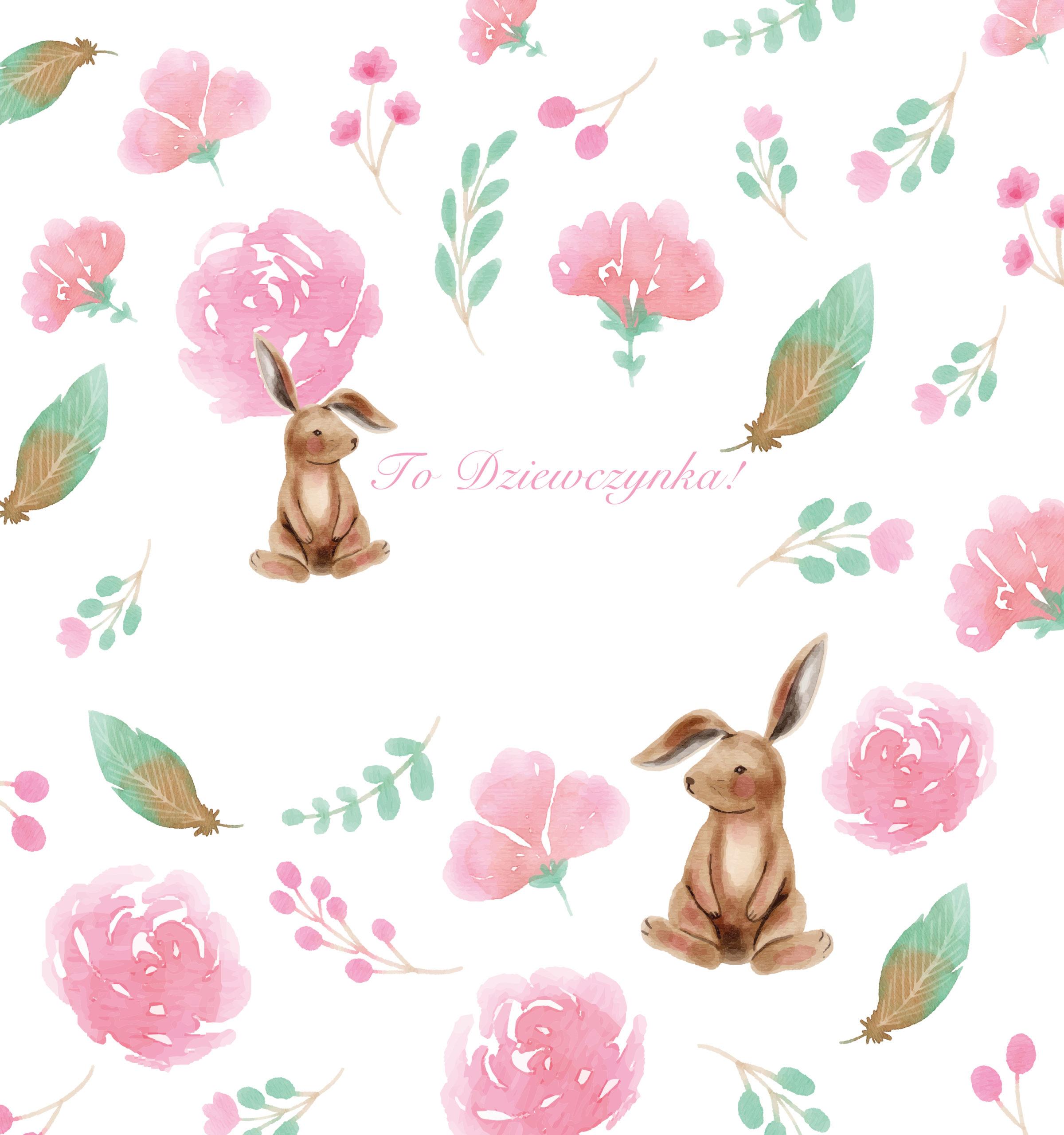 krówki baby shower dziewczynka królik