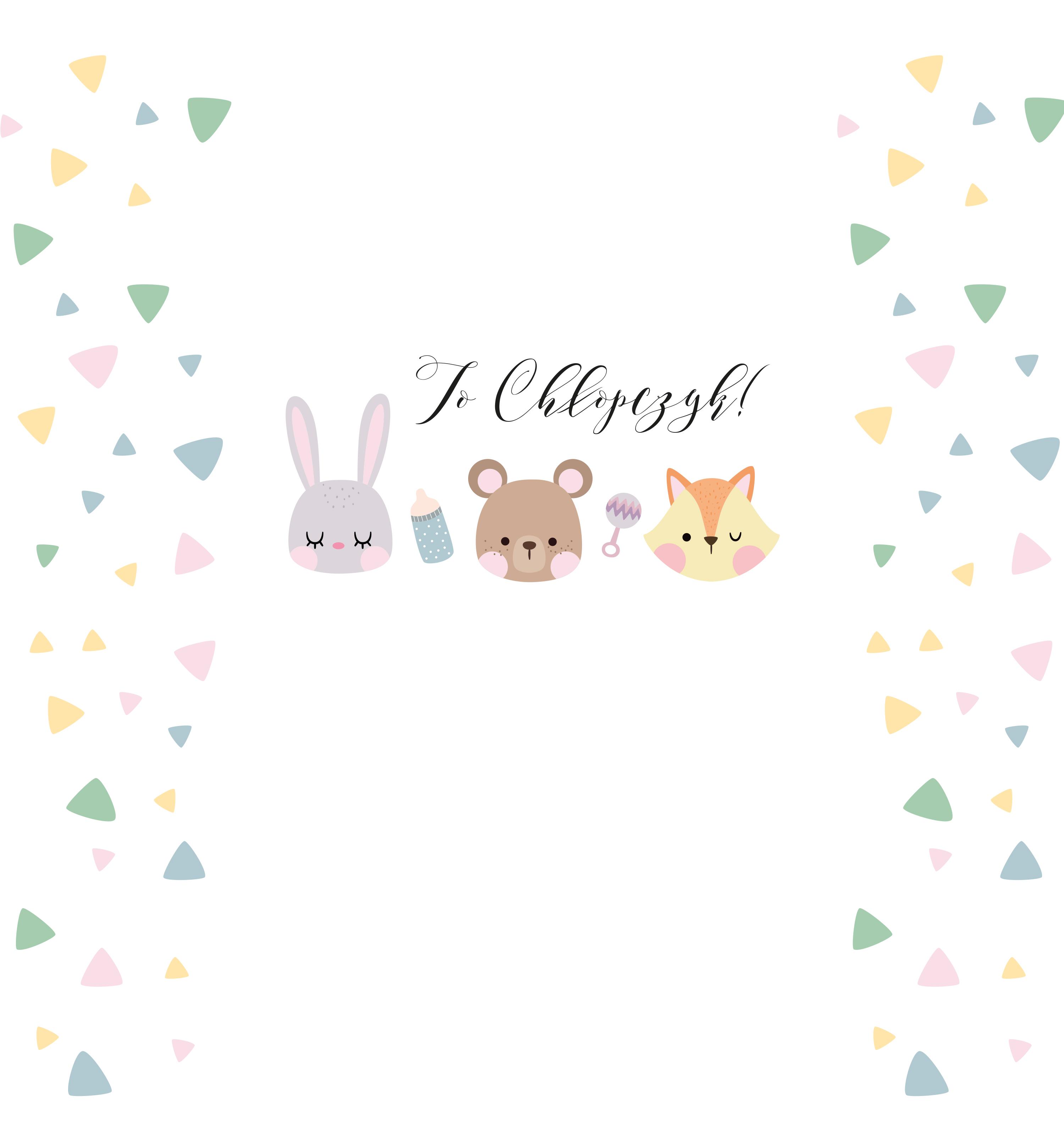 krówki baby shower chłopczyk miś królik lis
