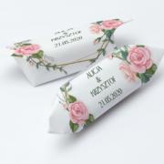 Krówki na ślub i wesele różowe kwiaty
