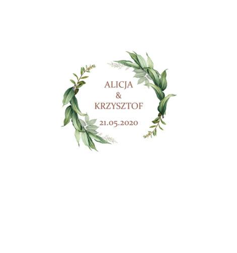 Krówki na ślub i wesele zielone liście
