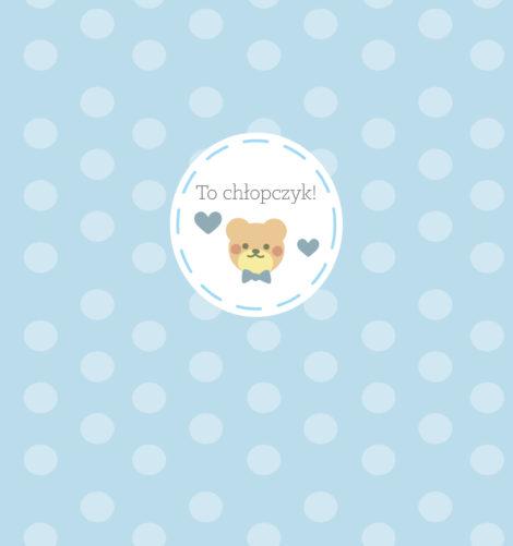 krówki baby shower chłopczyk miś niebieski