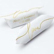 krówki na ślub i wesele złoty napis