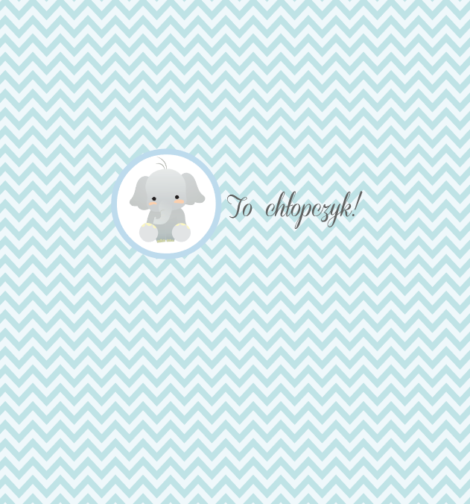 krówki baby shower chłopczyk słoń paski niebieskie