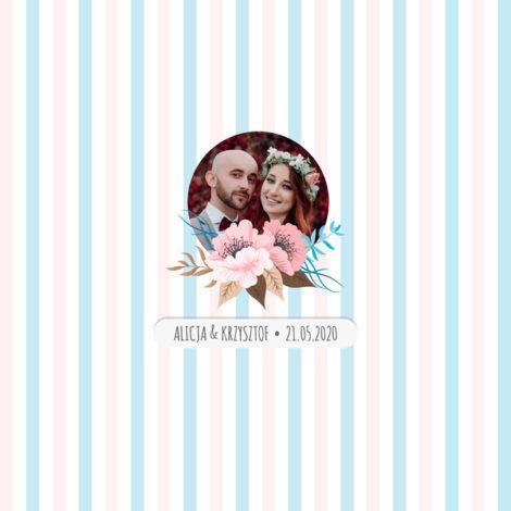 Krówki na ślub i wesele ze zdjęciem pastelowe paski