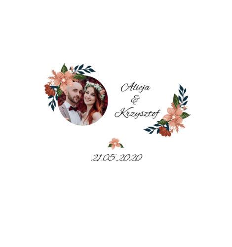 Krówki na ślub i wesele ze zdjęciem pomarańczowe kwiaty