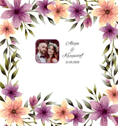 Krówki na ślub i wesele ze zdjęciem kolorowe kwiaty
