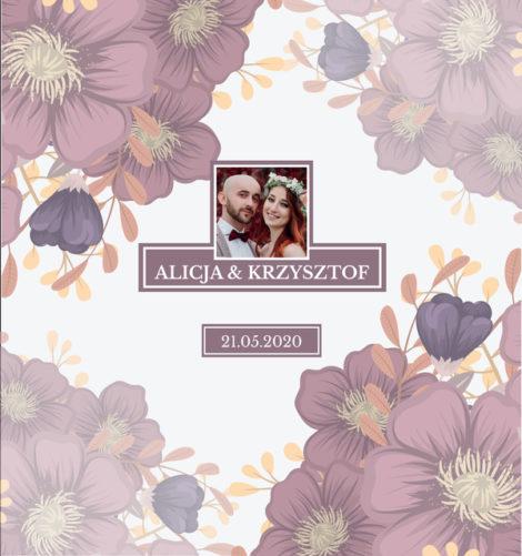Krówki na ślub i wesele ze zdjęciem fioletowe kwiaty