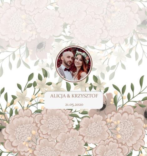 Krówki na ślub i wesele ze zdjęciem zielone kwiaty