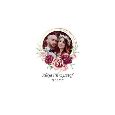 Krówki na ślub i wesele ze zdjęciem bordowe kwiaty