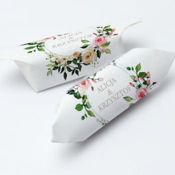 Krówki na ślub i wesele kwiaty pastelowe