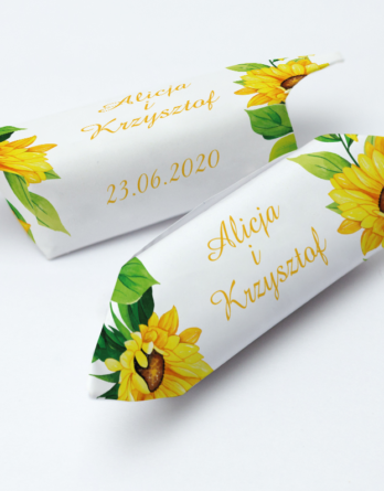 Krówki na ślub i wesele słoneczniki żółte