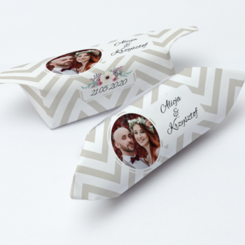 krówki weselne paski ze zdjęciem Pary Młodej