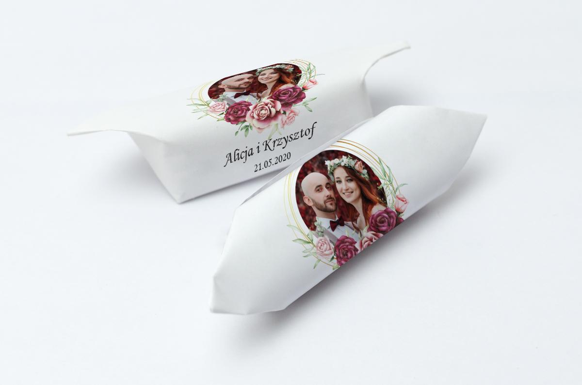 krówki weselne ze zdjęciem róże bordowe