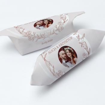 krówki weselne ze zdjęciem pudrowe listki