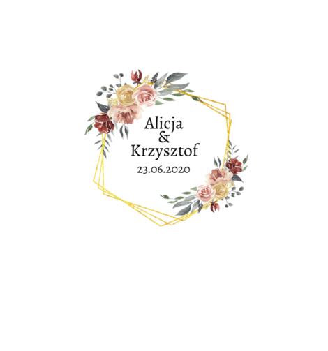 Krówki na ślub i wesele złote kwiaty pudrowe