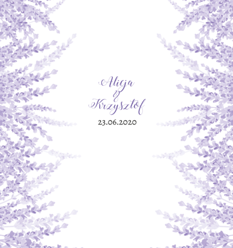 Krówki na ślub i wesele fioletowe delikatne kwiaty