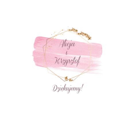 krówki na ślub i wesele różowe plamy złota ramka