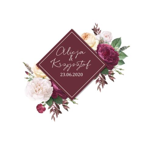Krówki na ślub i wesele bordowe piwonie