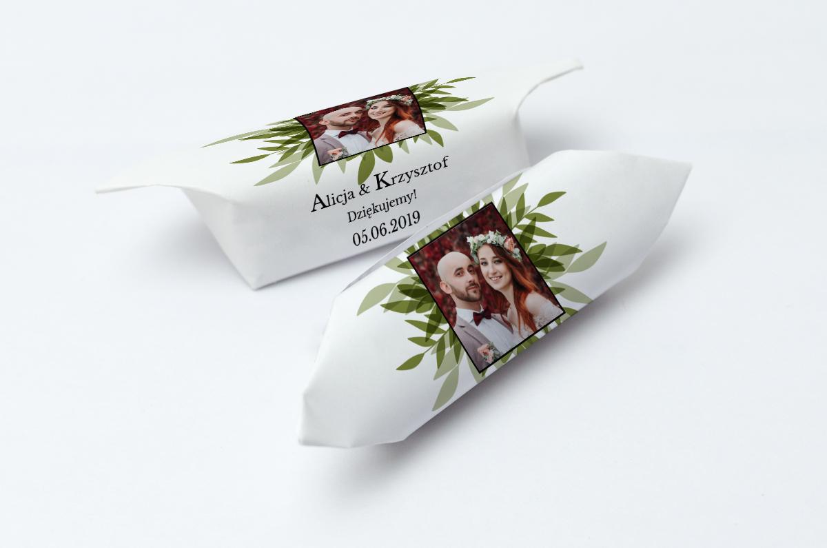 krówki ze zdjęciem foto zielone listki