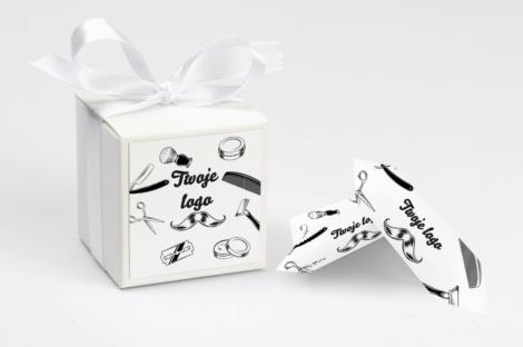 personalizowane pudełeczko na krówki fryzjerskie z twoim logo